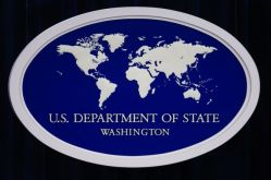 Department of State logo - white ring flat earth