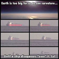 earth too big to see curvature - until ships sail over it