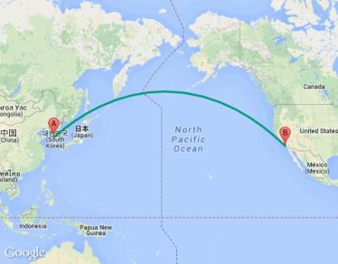 flight path - US to Korea
