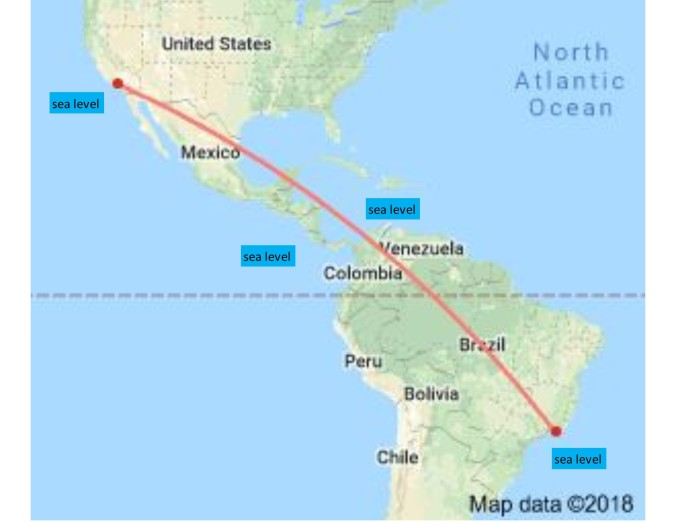 LA to Rio - elevation of Panama