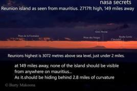 Reunion seen from Mauritius - 149 miles away, should be behind 2.8 miles of curve