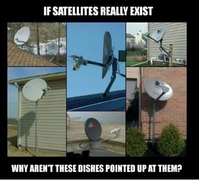 satellite dishes not pointed up at satellites